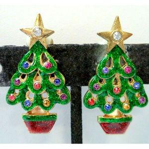 vintage Christmas tree rhinestone enamel earrings
